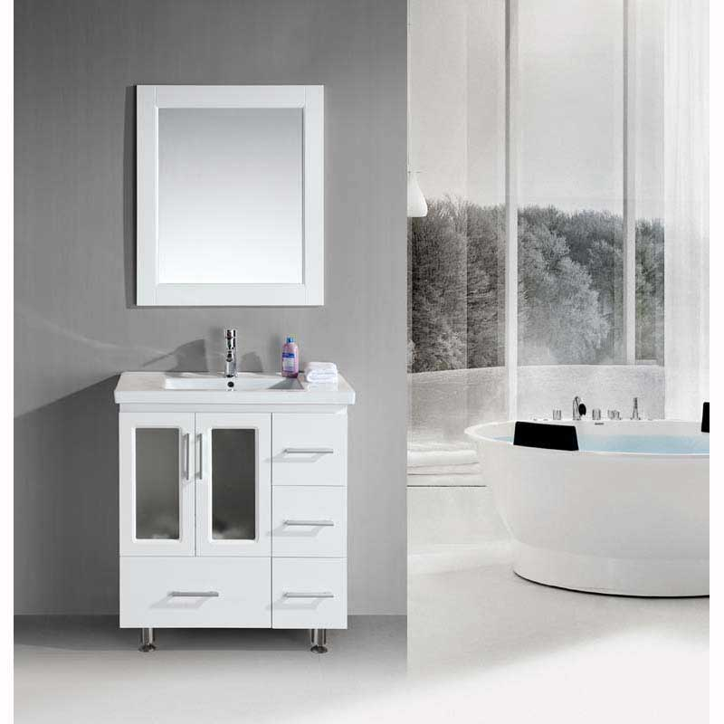 "Design Element Stanton 32"" Single Sink Vanity Set with Drop-in Sink in White"