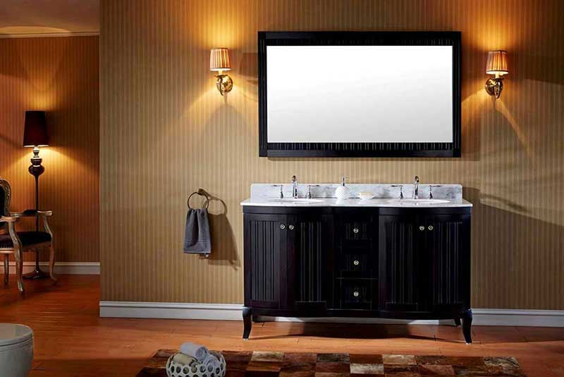 "Virtu USA Khaleesi 60"" Double Bathroom Vanity Cabinet Set in Espresso"