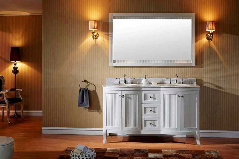 "Virtu USA Khaleesi 60"" Double Bathroom Vanity Cabinet Set in White"