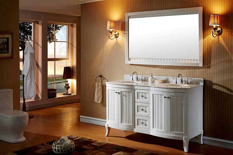 "Virtu USA Khaleesi 60"" Double Bathroom Vanity Cabinet Set in White 2"