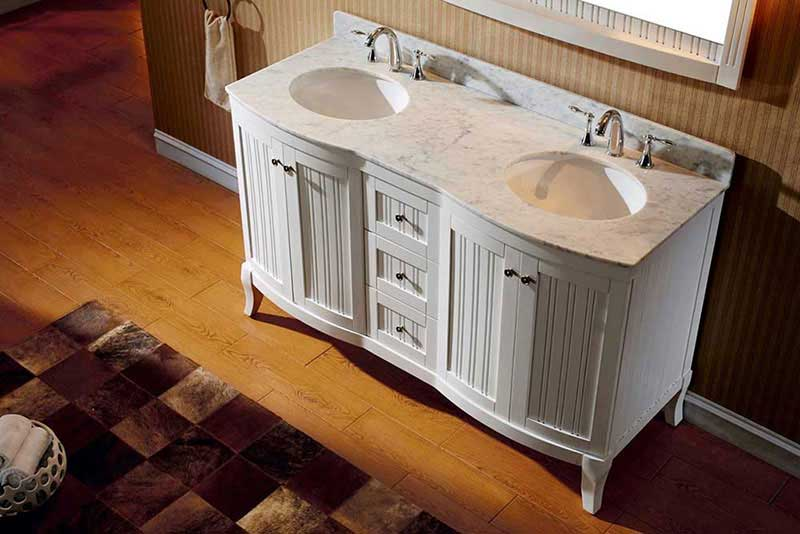 "Virtu USA Khaleesi 60"" Double Bathroom Vanity Cabinet Set in White 3"