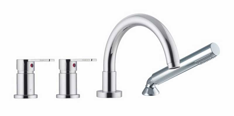 Fima by Nameeks Matrix Double Handle Deck Mount Thermostatic Tub Faucet with Hand Shower