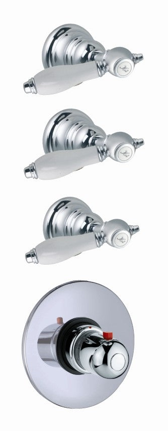 Fima by Nameeks Herend Built-In Thermostatic Valve Trim with Three Volume Control Handles