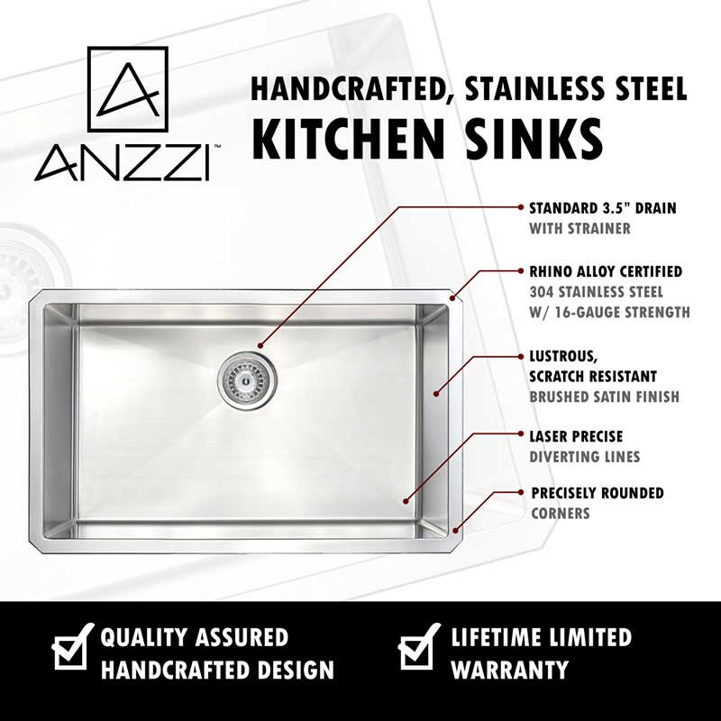 Anzzi VANGUARD Undermount Stainless Steel 30 in. Single Bowl Kitchen Sink and Faucet Set with Singer Faucet in Polished Chrome 5