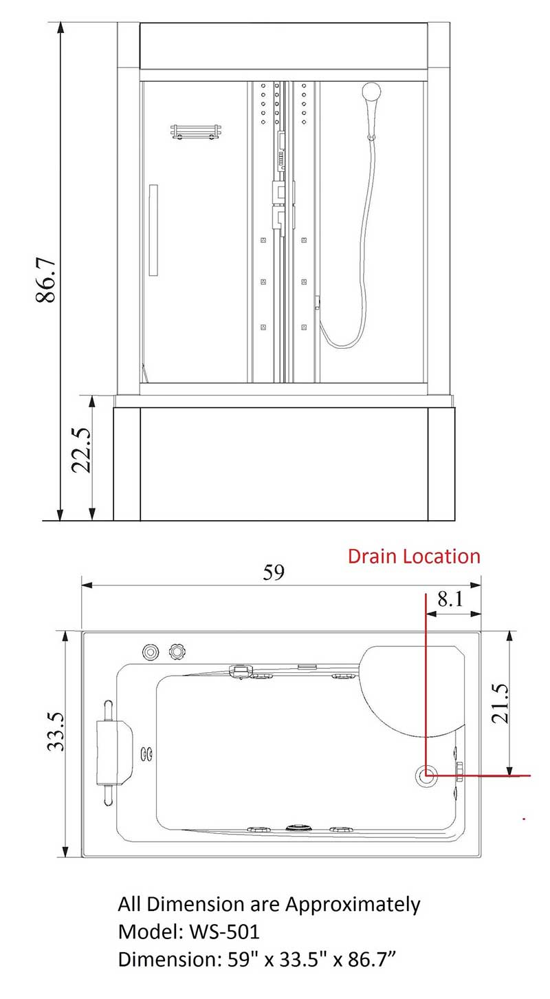 Eagle Bath Sliding Door Steam Shower Enclosure Unit 9