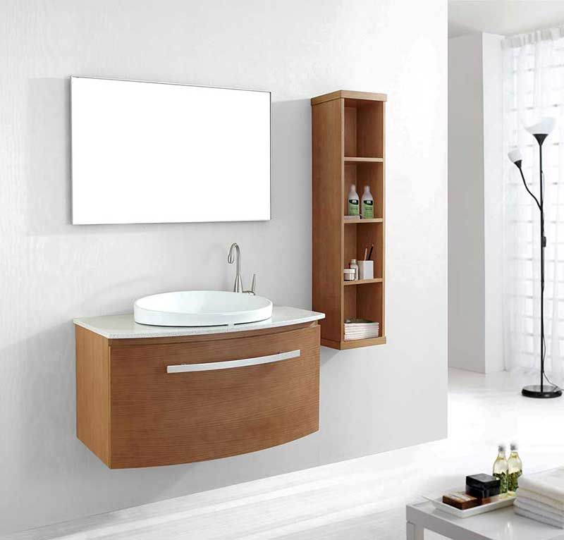 "Virtu USA Anabelle 40"" Single Bathroom Vanity Cabinet Set in Chestnut"