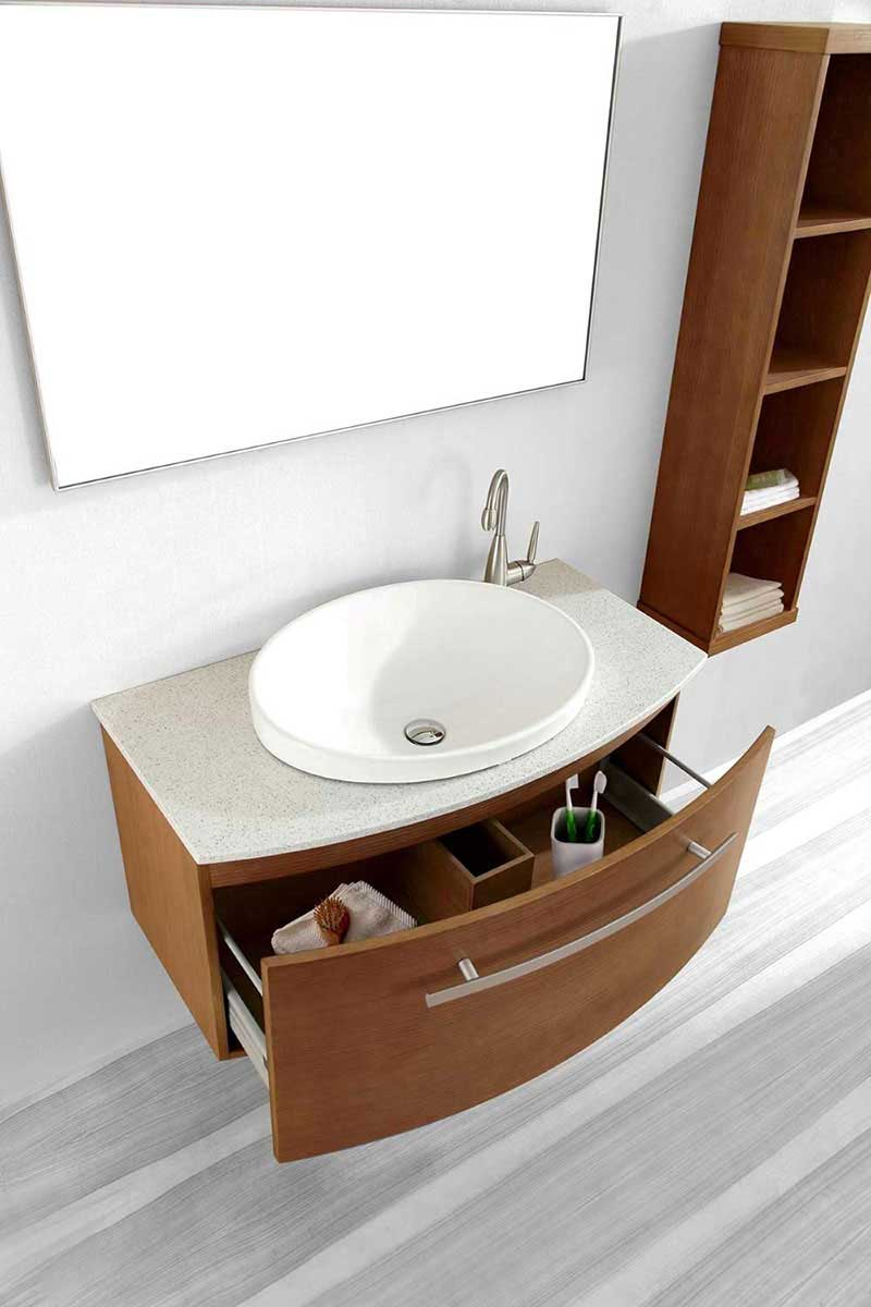 "Virtu USA Anabelle 40"" Single Bathroom Vanity Cabinet Set in Chestnut 2"