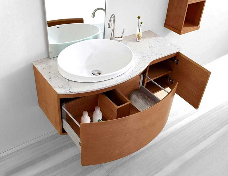 "Virtu USA Isabelle 48"" Single Bathroom Vanity Cabinet Set in Chestnut 3"