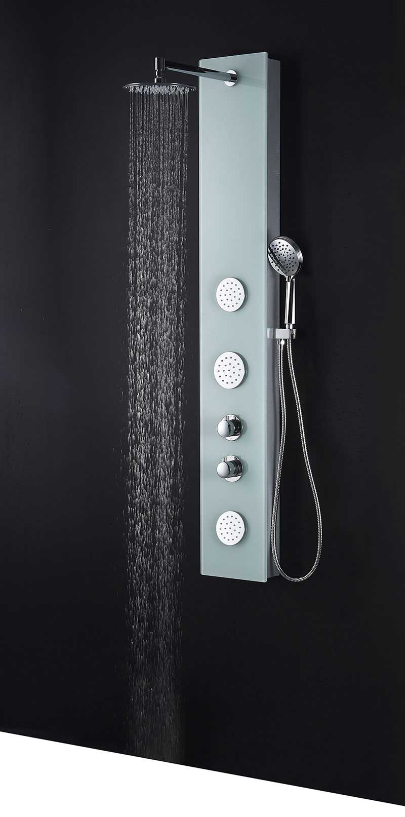 Anzzi MARE Series 60 in. Full Body Shower Panel System with Heavy Rain Shower and Spray Wand in White 6