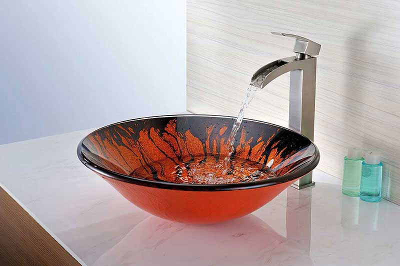 Anzzi Forte Series Deco-Glass Vessel Sink in Lustrous Red and Black 6