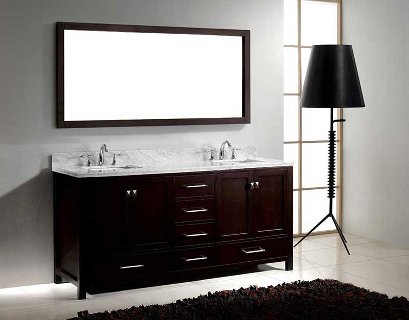 "Virtu USA Caroline Avenue 72"" Double Bathroom Vanity Cabinet Set in Espresso"