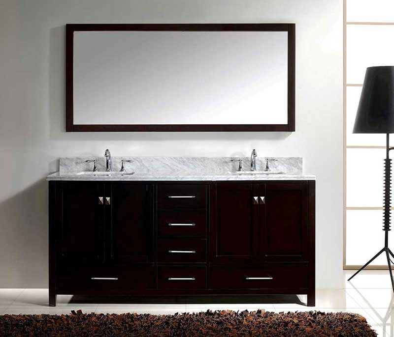 "Virtu USA Caroline Avenue 72"" Double Bathroom Vanity Cabinet Set in Espresso 2"