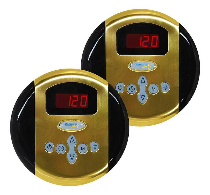 SteamSpa Programmable Dual Control Panels in Polished Gold