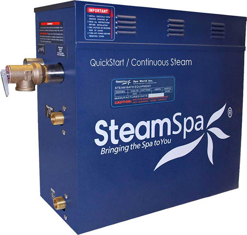 SteamSpa Royal 9 KW QuickStart Acu-Steam Bath Generator Package in Polished Gold 2