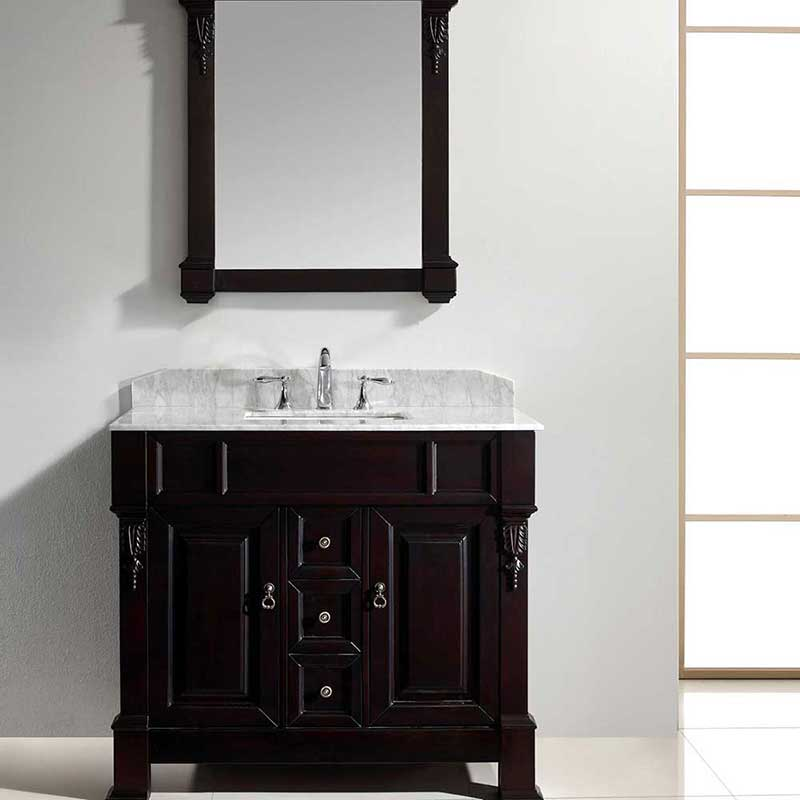 "Virtu USA Huntshire 40"" Single Bathroom Vanity Cabinet Set in Dark Walnut"