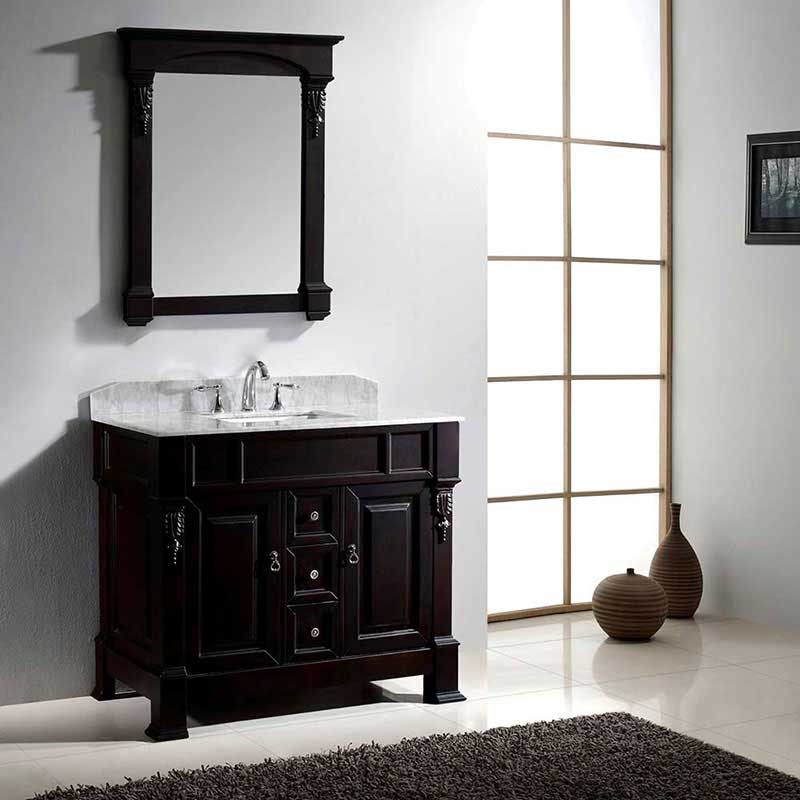 "Virtu USA Huntshire 40"" Single Bathroom Vanity Cabinet Set in Dark Walnut 2"