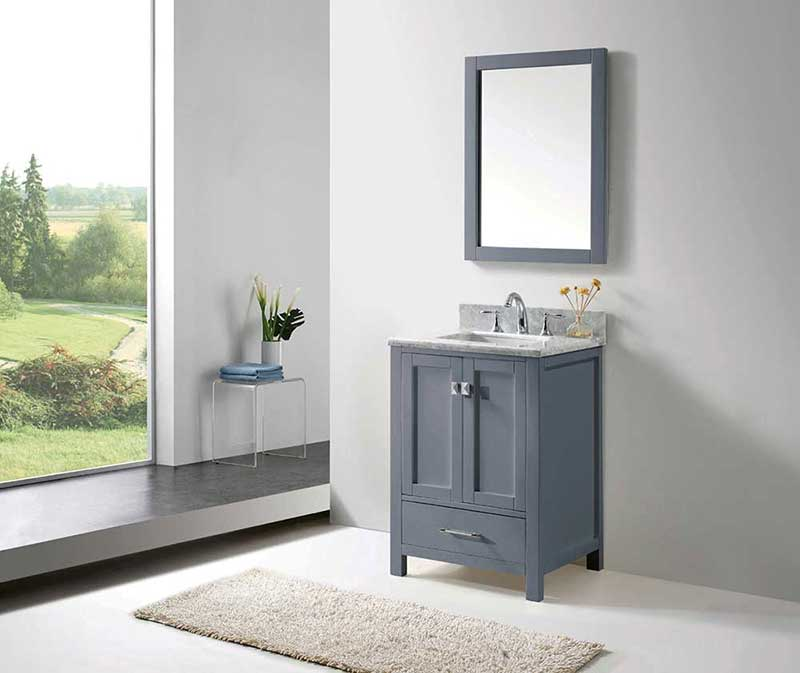 "Virtu USA Caroline Avenue 24"" Single Bathroom Vanity Cabinet Set in Grey"