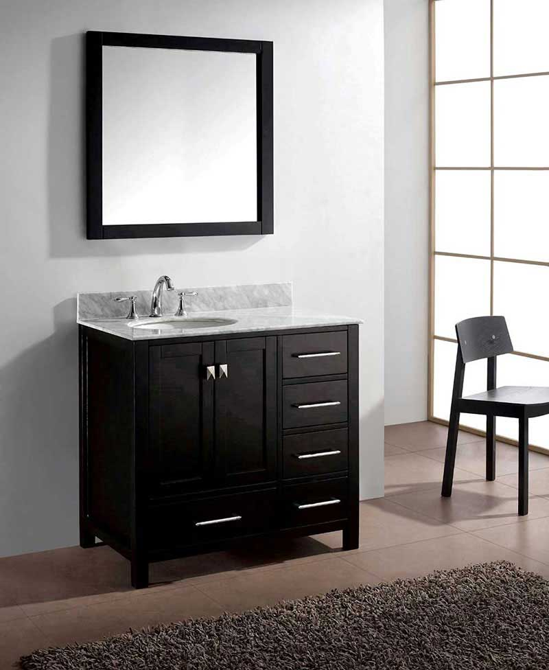 "Virtu USA Caroline Avenue 36"" Single Bathroom Vanity Cabinet Set in Espresso"