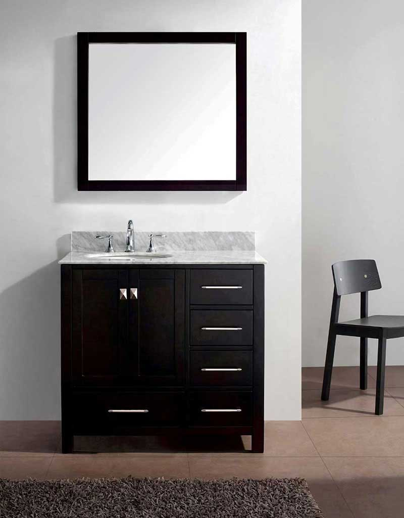 "Virtu USA Caroline Avenue 36"" Single Bathroom Vanity Cabinet Set in Espresso 2"