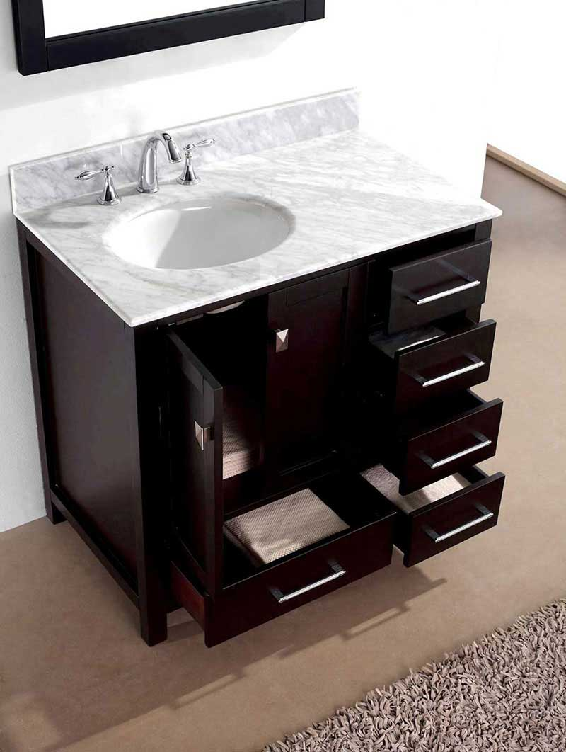 "Virtu USA Caroline Avenue 36"" Single Bathroom Vanity Cabinet Set in Espresso 3"