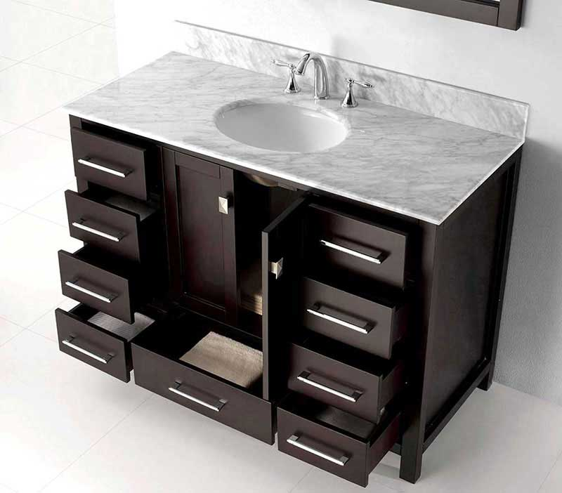 "Virtu USA Caroline Avenue 48"" Single Bathroom Vanity Cabinet Set in Espresso 3"