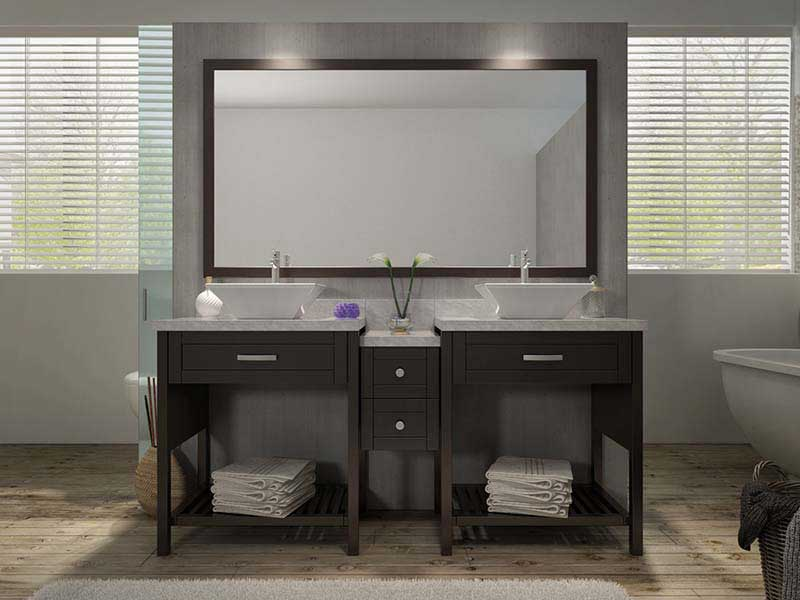 "Ariel Bath Kennedy 73"" Double Sink Vanity Set in Espresso"