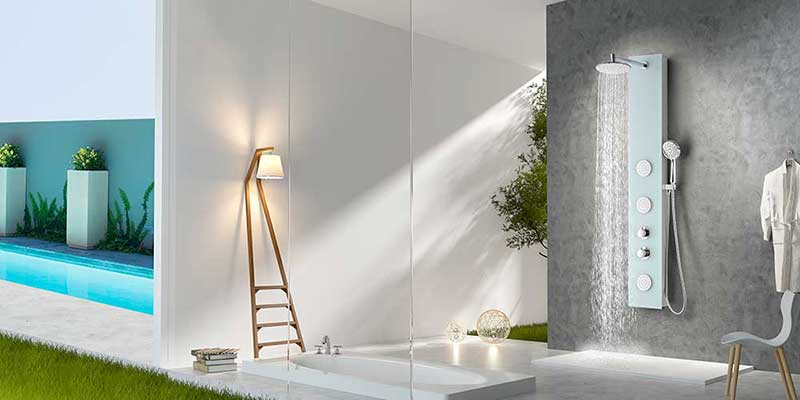 Anzzi MARE Series 60 in. Full Body Shower Panel System with Heavy Rain Shower and Spray Wand in White 12