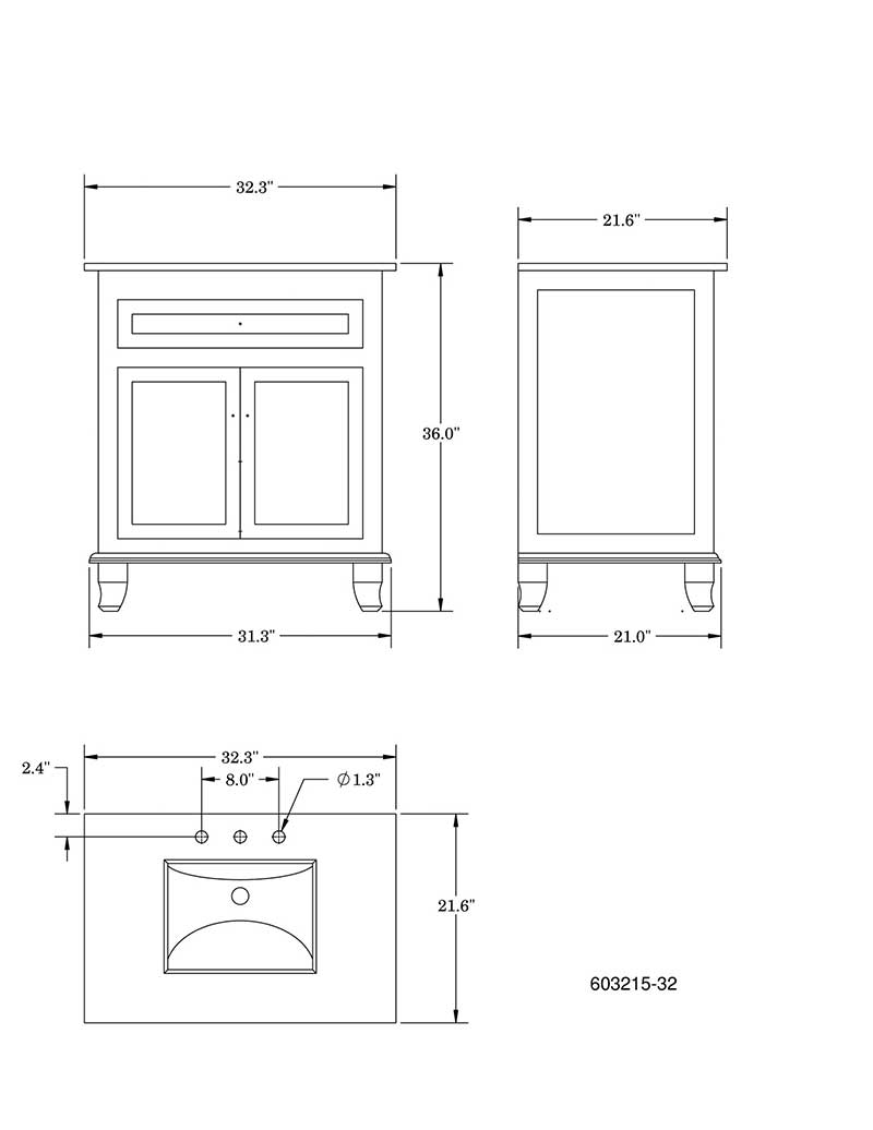 "Bellaterra Home Dorchester 32"" Single Vanity Set 6"