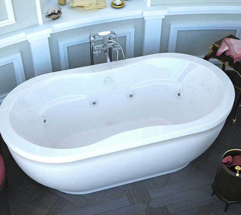 Venzi Velia 34 x 71 x 21 Oval Freestanding Air & Whirlpool Water Jetted Bathtub with Center Drain By Atlantis
