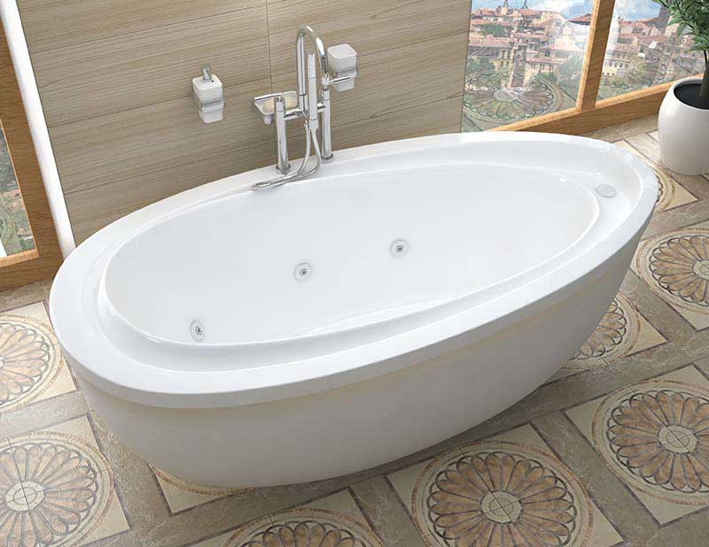 Venzi Tullia 38 x 71 x 20 Oval Freestanding Whirlpool Jetted Bathtub with Reversible Drain By Atlantis