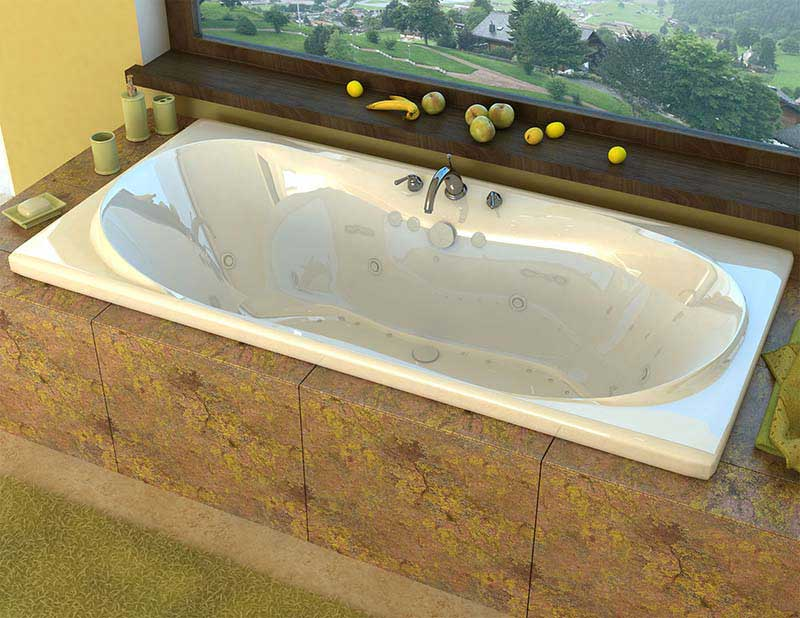 Venzi Bello 42 x 72 Rectangular Air & Whirlpool Jetted Bathtub with Center Drain By Atlantis