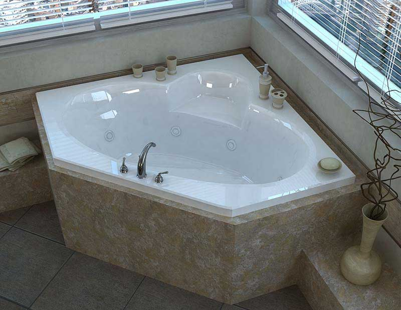 Venzi Ambra 60 x 60 Corner Whirlpool Jetted Bathtub with Center Drain By Atlantis
