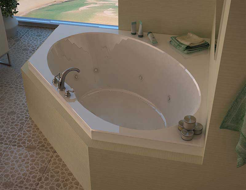 Venzi Grand Tour Stella 60 x 60 Corner Air & Whirlpool Jetted Bathtub with Center Drain By Atlantis