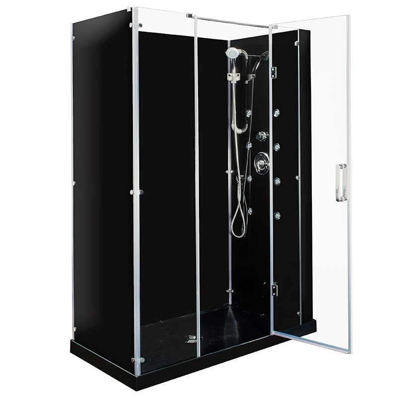 Steam Planet Kascade Hinged 59 in. x 32 in. x 84 in. Center Drain Alcove Shower Kit in Black and Chrome Hardware with 8 Body Jets 2