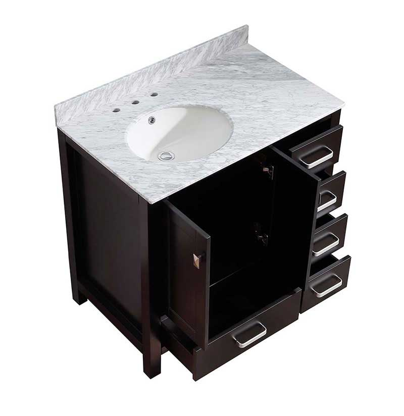 Anzzi Chateau 36 in. W x 22 in. D Vanity in Espresso with Marble Vanity Top in Carrara White with White Basin and Mirror 15