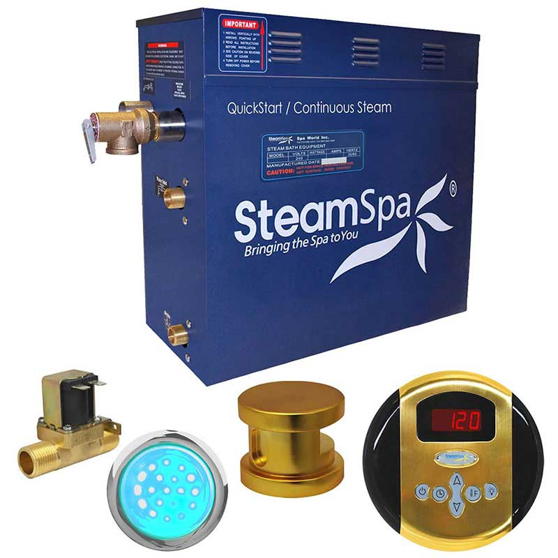 SteamSpa Indulgence 9 KW QuickStart Acu-Steam Bath Generator Package with Built-in Auto Drain in Polished Gold