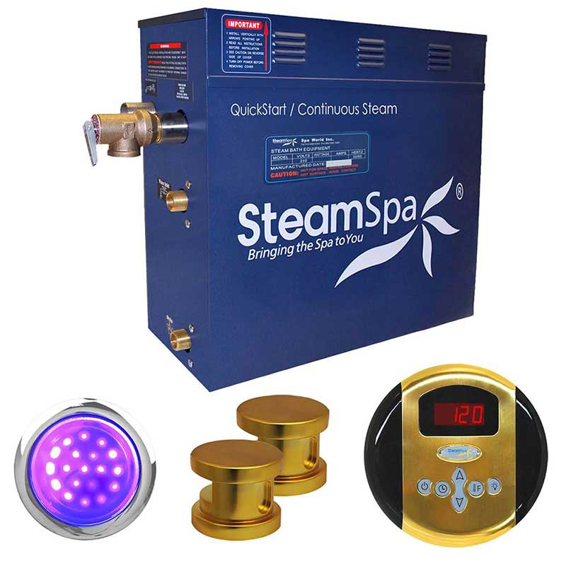 SteamSpa Indulgence 10.5 KW QuickStart Acu-Steam Bath Generator Package in Polished Gold