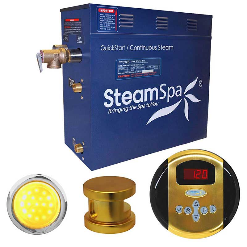 SteamSpa Indulgence 4.5 KW QuickStart Acu-Steam Bath Generator Package in Polished Gold