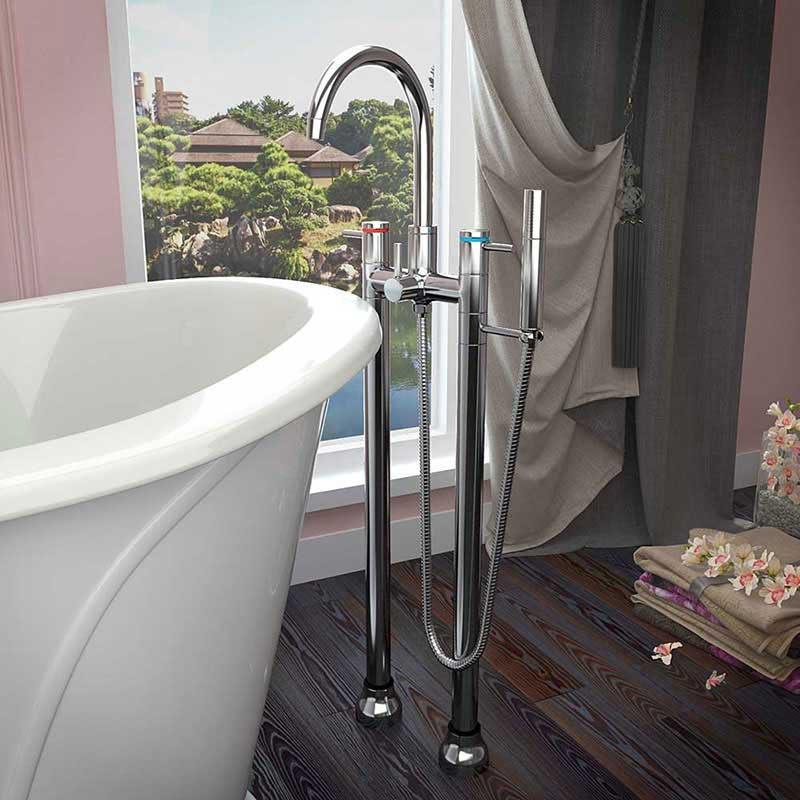 Anzzi Gala 6.7 ft. Acrylic Freestanding Non-Whirlpool Bathtub in Violet and Sol Series Faucet in Chrome 6