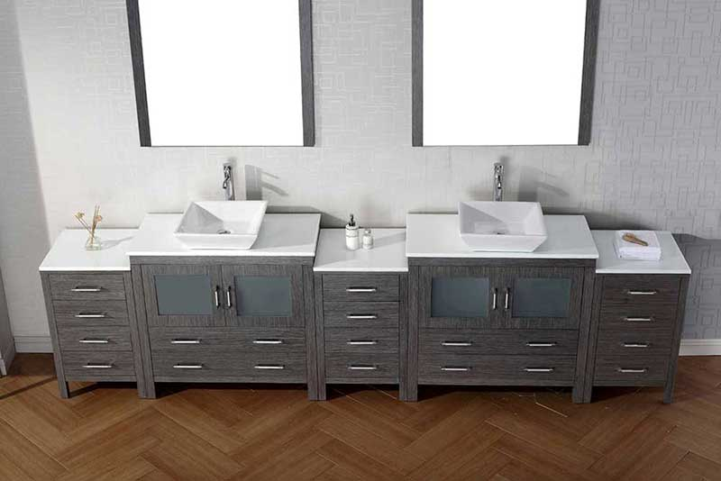 "Virtu USA Dior 12"" Double Bathroom Vanity Cabinet Set in White"