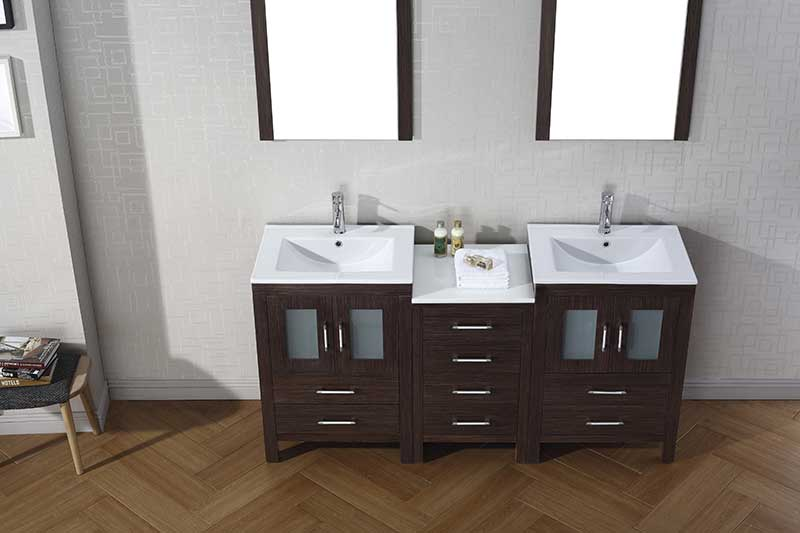 Virtu USA Dior 66 Double Bathroom Vanity Set in Espresso 5