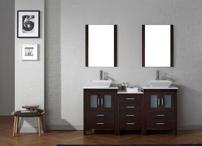 Virtu USA Dior 66 Double Bathroom Vanity Set in Espresso