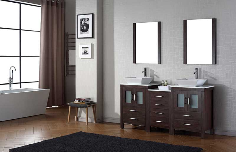 Virtu USA Dior 66 Double Bathroom Vanity Set in Espresso 2