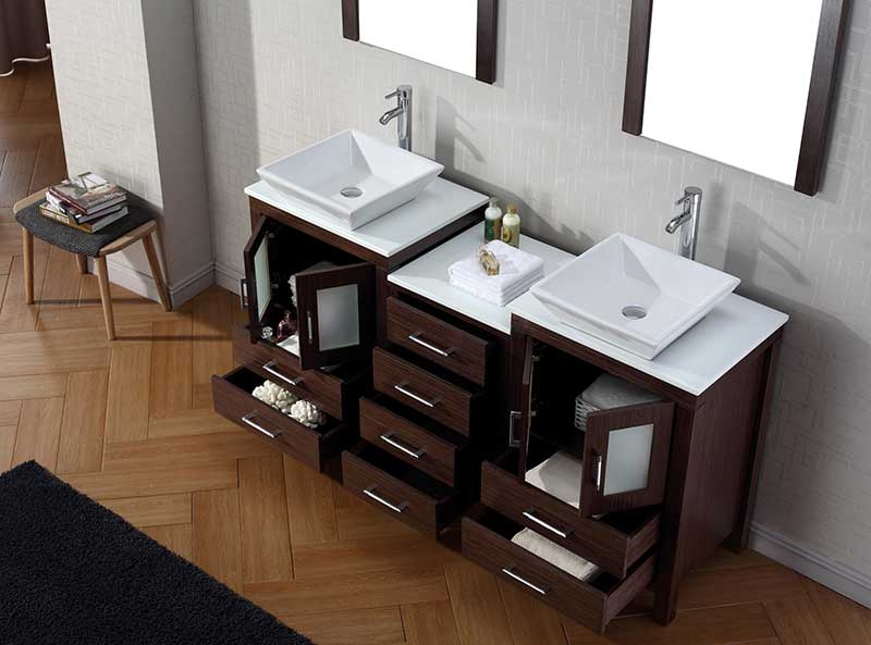 Virtu USA Dior 66 Double Bathroom Vanity Set in Espresso 3