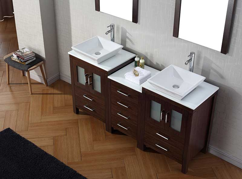 Virtu USA Dior 66 Double Bathroom Vanity Set in Espresso 4
