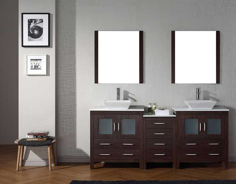Virtu USA Dior 78 Double Bathroom Vanity Set in Espresso