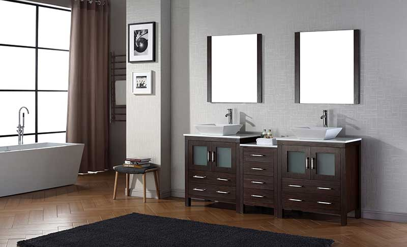 Virtu USA Dior 78 Double Bathroom Vanity Set in Espresso 2