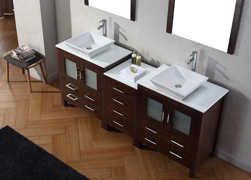 Virtu USA Dior 78 Double Bathroom Vanity Set in Espresso 3