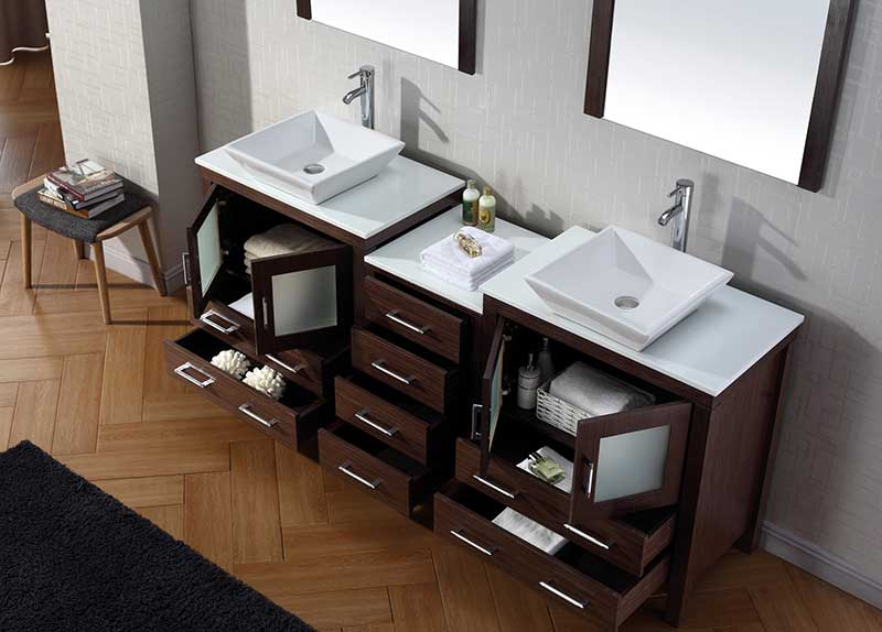 Virtu USA Dior 78 Double Bathroom Vanity Set in Espresso 4
