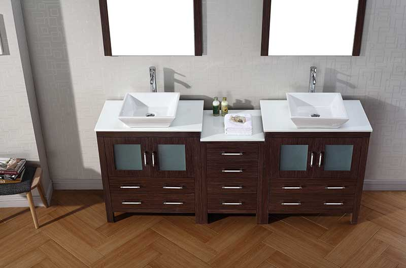 Virtu USA Dior 78 Double Bathroom Vanity Set in Espresso 5